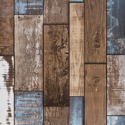 Akywall Reclaimed Wood Wallpaper Roll Vintage Faux Wood Plank Look Wallpaper for Home Decal Restaurant Cafe 20.8inch x 32.8ft