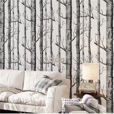 Akea Modern Birch Tree Wallpaper roll, Black and White Forest Trunk, for Living Room , Bedroom, TV Background etc, Size 20.8inch x 32.8ft, 57 sq.feet