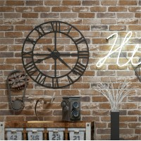 Akea Faux Old Brick Wallpaper Roll, Flat 3D Effect Blocks Stone Look Removable Wall Paper Vintage Home Decoration (Brown)