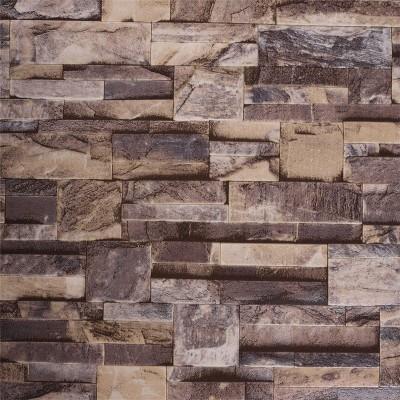Akea Modern Stone Wallpaper, Waterproof Vinyl Wallpaper Roll, Home Decor for Bedroom, Living room etc. Size: 20.8inch x 32.8ft, 57 sq.feet, Brown